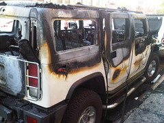 Burnt H2 (nabeeloo) Tags: nyc ny newyork car fire drive driving harlem manhattan burn hummer h2 hummvee hmmvv