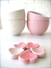 New Pink Porcelain Lace Bowl with Heart Cutlery Rest Set -Hideminy Lace Series* (Hideminy New York) Tags: pink wedding food white flower love home kitchen ceramic for ceramics peace heart lace interior dream tags bowl her glaze gift trendy pottery safe weddings bridal showers decor porcelain materials tablewear