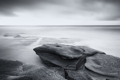 R E S P E C T (Eloise Claire) Tags: longexposure bw seascape water sunrise landscape blackwhite rocks waves australia brisbane le queensland sunshinecoast ndfilter longexp pointcartwright 10stopfilter bwnd110filter