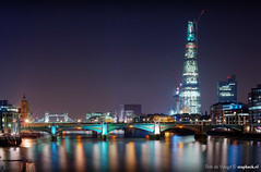 The Shard / Southwark bridge / London / 2012 (zzapback) Tags: city uk bridge blue red england urban west reflection london thames