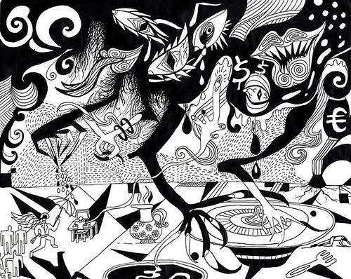 (Mita Krestov) Tags: art monochrome monster power drawing surrealism management conflict administration mutation