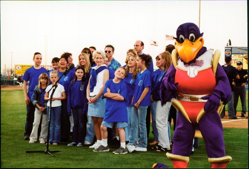 Cast singing National Anthem with Kaboom at Jethawks Stadium
