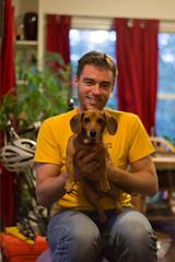 Donald with Stompor (Justin T. Arthur) Tags: dog donald dachshund browndog shallowdepthoffield shallowdof warmcolors weinerdog centerweighted niftyfifty