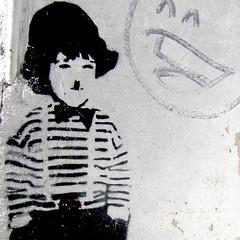 Charlie Chaplin street art (make.life.paradise) Tags: blackandwhite bw white streetart black streets berlin square graffiti stencil europe sweet stripes bowtie wallart charlie smiley bowlerhat mustache smileyface charliechaplin squarephotography