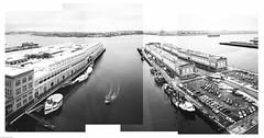 . (JHamel) Tags: panorama film boston spring worldtradecenter kodaktmax400 seaport southboston eastboston bostonharbor bessar3a voigtlander40mmf14