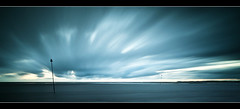 The Approaching Storm (A-D-Jones) Tags: ocean blue sea sun seascape glass set clouds landscape movement long exposure welding crosby blundellsands
