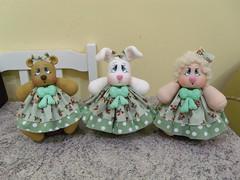 Trio de baleiros (La Bambina Biscuit) Tags: biscuit baleiros ovelhinha coelhinha ursinha artesanato manual porcelanafria baleirosdebiscuit decorao labambina