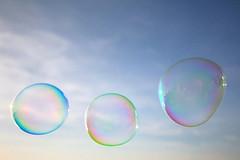 Bubbles (Marius Grndahl) Tags: blue summer sun art beach colors soap skies artistic sweden shapes bubbles blow form