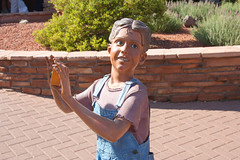Creepy Sedona kid (twm1340) Tags: county arizona statue kid sedona az creepy uptown coconino verdevalley yavapai