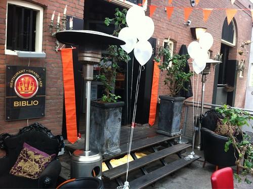 Tafeldecoratie 4ballonnen Biblio Westelijk Handelsterrein Rotterdam