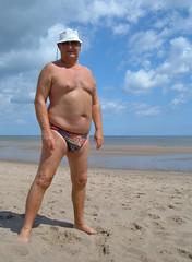 PJ on Huttoft Beach (pj's memories) Tags: beach sunglasses seaside lincolnshire briefs sunbathing speedos bulge sunhat tanthru kiniki huttoft