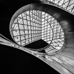 L... (Julian E...) Tags: blackandwhite bw paris france monochrome architecture dynamic angle louvre contemporary staircase spiralstaircase impei