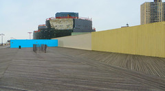 My Here and There (Robert Saucier) Tags: blue newyork building yellow wall architecture brooklyn jaune coneyisland aquarium bleu boardwalk neige mur trottoir img2633