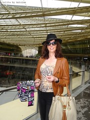 Chapeau Antoine! (french_lolita) Tags: brown black leather top jacket multicolored pant