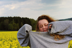 Mariana (Marek Kalich) Tags: life portrait people woman nature girl face field fashion clouds hair outdoors spring mood dream sleepy sweather