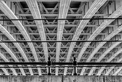 Under the Bridge. ( in explore 24-5-2016) (moniquevantorenburg) Tags: blackandwhite london monochrome lines zwartwit unitedkingdom pov engeland underthebridge londen lijnen citytrip onderdebrug standpunt olympus1250mm olympusomdem5markii