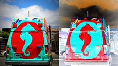 Adorable / Sign Of The Apocalypse (Art By Pem Photography: Tao Of The Wandering Eye) Tags: california street travel red usa color colour colors clouds truck canon eos rebel colorful seahorse colours sandiego pastel painted apocalypse shapes van southerncalifornia whimsical sl1 fineartphotography canoneosrebelsl1