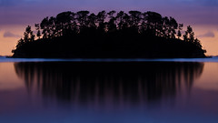 Mirrors (Rachel Fagan) Tags: camping trees sunset newzealand panorama orange water silhouette night reflections island mirror nikon long exposure purple auckland waiheke d5100