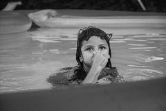 Going under (This_is_JEPhotography) Tags: family bw white black cute water pool girl field swimming ga georgia outdoors nose blackwhite eyes holding pretty dof little bokeh andrea sony niece adobe depth floats slt lightroom a77 georiga