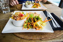 Salted Fish Lunch (Instagram @SMSidat737) Tags: flatfield saintlucy barbados bb meal salted fish seafood animal flower caves dinner foodie lunch food salad knife fork plate table