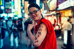 Ryunosuke (Jon Siegel) Tags: street city portrait urban man japan night japanese 50mm glasses evening cool nikon muscle handsome posing osaka 12 nikkor dotonbori flexing 50mmf12ais 50mmf12 d810