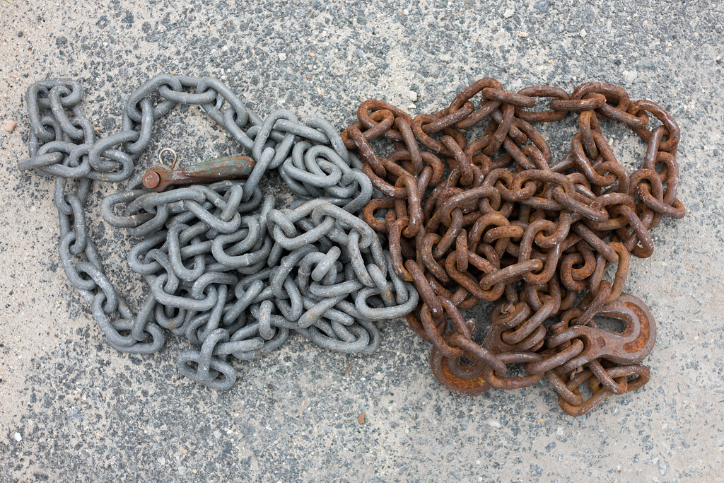 how to clean rust off steel chain
