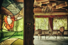 Party Animal (Szydlak Szk) Tags: old windows party two urban abandoned window glass animal vintage table hotel wooden chairs decay curtain ceiling stained nostalgia tango chandelier forgotten urbanexploration fox attic nostalgic orte exploration derelict hdr decayed forlorn urbex drapery miejsca verlassene opuszczone opuszczony szydlak