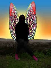 Fairy with Pink Boots (Robin Hutton) Tags: shadow beautiful manipulated wonderful painting real fun artwork picture silhouete fairy fairies sillouete mythical silouete entrancing farey winges fayries realfairy