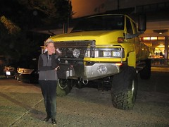 Elizabeth Falkner posing for me in front of Guy Fieri's ridiculous truck (the tablehopper) Tags: food wine pebblebeach 2012 pbfw tablehopper pebblebeachfoodwine