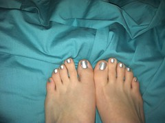 Silver tootsies (Imperfect Perfections) Tags: blue cute feet azul silver toes teal feets footsies tootsies