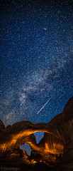 Perseid meteor streaking over the lightpainted double arch in Arches National Park. (tmo-photo) Tags: blue orange lightpainting night stars utah nationalpark sandstone nightscape desert panoramic astro archesnationalpark meteors milkyway doublearch perseid andromedia