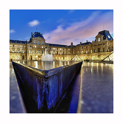 Le Louvre, un soir. (Zed The Dragon) Tags: city morning bridge light sunset sky paris france building skyline architecture skyscraper photoshop reflections french landscape effects europe flickr cityscape pyramid minolta louvre sony capital musee full un frame fullframe alpha soir pyramide reflets postproduction hdr highdynamicrange sal lelouvre zed lumires 2012 francais cour lightroom historique effets storia parisien carre 24x36 poselongue a850 eclairages sonyalpha dslra850 alpha850 zedthedragon