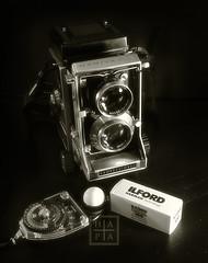 Trinity (HAPA John) Tags: camera light bw white black mamiya tlr film vintage john nikon 28mm card trinity meter nikkor hapa manualfocus bounce ais c33 f35 sb800 sekonic mamiyac33 strobist l398 d300s