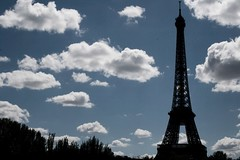 Shading of the Eiffel tower (julien. H) Tags: blue sky mars sun paris france tower lady clouds canon de french landscape eos la iron europe ledefrance cityscape republic tour landmark fair eiffel icon du ombre reflet worlds sur dame region rpublique champ fer gustave shading parisienne parktrees rgion towereiffel franaise puddled fairworlds