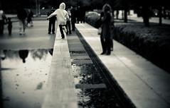Balancing Act (Hans Maso) Tags: park city people blackandwhite woman chicago man men canon us blackwhite women 85mm 5d markiii ef85mmf12liiusm canoneos5dmarkiii