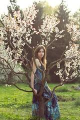 Girl, Spring, Tree (devmasha) Tags: flowers portrait people flower tree green girl grass canon 50mm 50mm14 canon7d