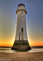 Sunset at New Brighton(3) (Steve Rowell Photography) Tags: sunset england lighthouse seascape water canon landscape eos coast waterfront view northwest shoreline places hdr wirral newbrighton newbrightonlighthouse hdrextremes extremehdr hdraddicted canon1100d eos1100