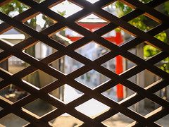 Looking through the lattice at Hakumai-inari shrine. (hyossie) Tags: japan lumix shrine panasonic osaka gf1 g20mmf17