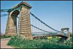 Horkstow Bridge (tatraškoda) Tags: old uk bridge england building history film rural 35mm river geotagged nikon suspension lincolnshire analogue f5 grade2 listed ebb rennie c200 fujicolor horkstow ancholme