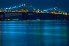Night Lights on the Hudson (SunnyDazzled) Tags: longexposure bridge newyork history water night reflections river lights colorful zee sparkle tappan slowshutter hudson buoyant