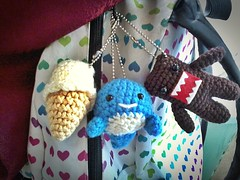 My book bag is swagged out (Foxxi-san) Tags: blue sea brown white cute stuffed keychain small crochet cream plush icecream domo kawaii plushie whale domokun amigurumi chubby