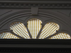 The Victorian Stained Glass Lunette in the Library of the Ballarat Mechanics' Institute - Sturt Street, Ballarat (raaen99) Tags: city light sunlight white building heritage yellow century fan woodwork education pattern arch panel library skylight illumination australia stainedglass victoria institute national shade victoriana trust civic classical archway 1850s stainedglasswindow ballarat lunette 19th goldrush listed nineteenth lightwell 1859 countryvictoria lightandshade mechanicsinstitute freelibrary adulteducation fanlight sturtstreet heritageweekend sturtst victorianstainedglass goldrushera provincialvictoria ballaratmechanicsinstitute educationalestablishment victorianstainedglasswindow ballaratheritageweekend technicalinstitution landmarkbuildingarchitecture historyhistoricaldecoration1860s1870s