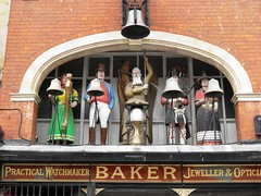 Old Father Time Clock above Baker Watchmaker in Glouchester (Normann) Tags: bell gloucester carillon watchmaker