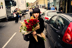 * (Chris JL) Tags: flowers columbiaroad london uk color streetphotography fujix100 woman peonies redcross redlips firstaid chrisjl shoreditch e2c btlc