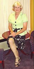 Lime Green Blouse (bobbievnc) Tags: black tv highheels legs cd skirt blouse tgirl short tranny blonde pantyhose crossdresser nylons shemale shortskirt tightskirt tanpantyhose