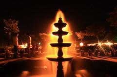 Fire fountain (Aadilsphotography) Tags: pakistan orange water fountain night canon photography long exposure fast islamabad nascon aadils fadils