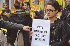 Kate: Gap Risks Factory Deaths (Darren Johnson / iDJ Photography) Tags: street plaza uk people signs london sign demo photography corporate photo high nikon war factory photographer image photos pics kate political politics protest gap pic images want demonstration rights passion demonstrations rana protesting protests bangladesh protester protesters risks deaths centrallondon 2014 kensignton d5000 idjphotography razaplaza