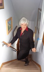 Almost There (Laurette Victoria) Tags: woman lady stairs silver suit laurette