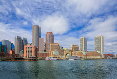 Rowes Wharf Skyline - Boston (marypink) Tags: sky usa boston skyline clouds america buildings nuvole waterfront massachusetts newengland cielo nikond800 nikkor1635mmf40