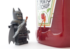 Do you bleed... Oh! (tomtommilton) Tags: macro tomato movie toy effects blood funny lego ketchup sauce special batman condiments bleed toyphotography batfleck batmanvsuperman